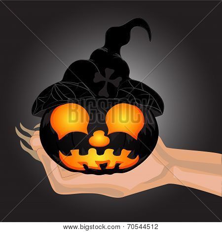 Terrible Pumpkin On A Hand At Witch.halloween. Halloween Banner .vector Illustration