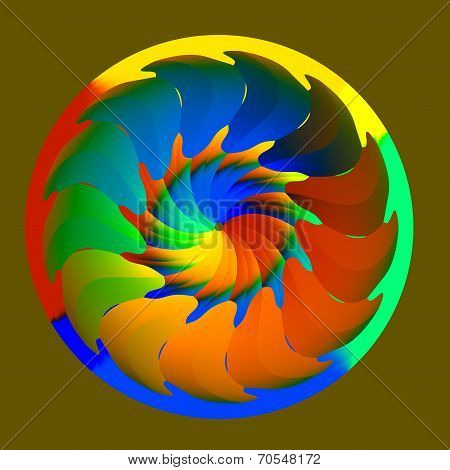 Abstract Colorful Isolated Rainbow Colored Wheel
