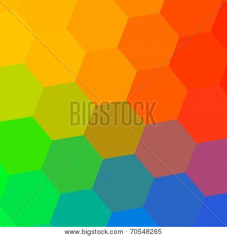 Abstract Colorful Rainbow Hexagons Background