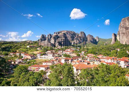 Beautiful panoramic view on Meteora and Trikala village, Greece.