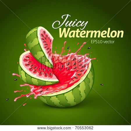 Watermelon with juice splash. Eps10 vector illustration