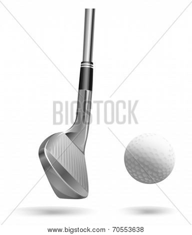Illustration of a club and a ball on a white background