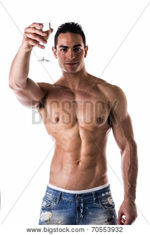 Romantic Muscular Shirtless Young Man Offering Champagne Smiling