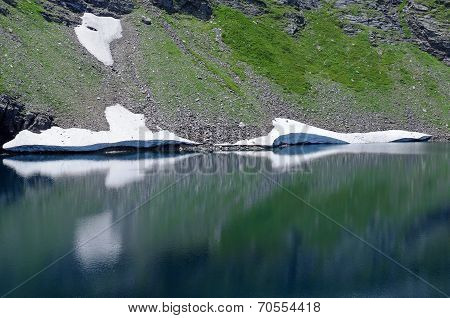 Reflection Of Glaciers In The Lake