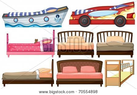 Illustration of the different bed designs on a white background