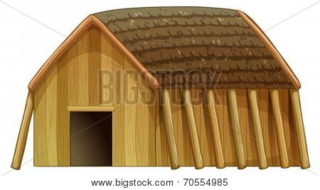 Illustration of a viking's shelter on a white background