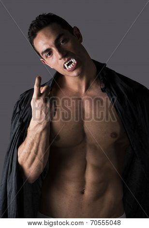 Naked Muscular Fit Young Man In Briefs Posing As A Vampire Or Dracula