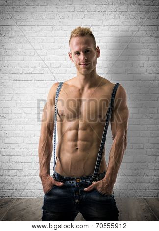Sexy Portrait Of A Very Muscular Blond Shirtless Male Model Smiling
