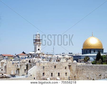 Jerusalem Rock Mosque And Ghawanima Minaret 2010