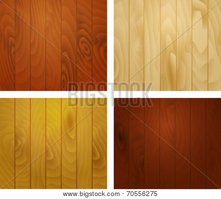 Wooden texture background of the vertical planks, set of textured squares