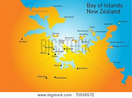 Bay of Island, New Zealand, vector color map