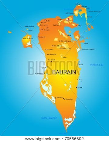Kingdom of Bahrain vector color map