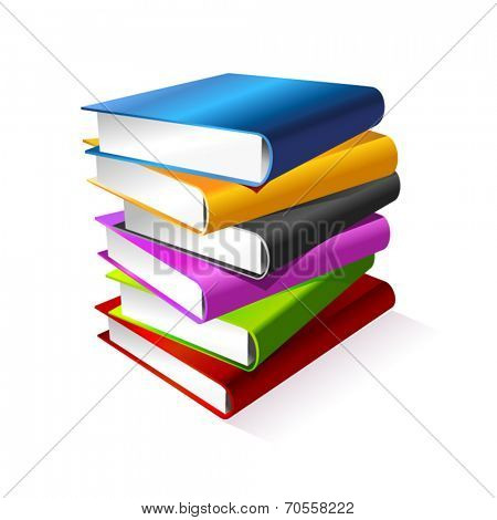 Color vector books stack isolated  on white