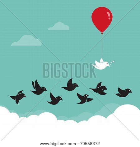 Birds flying in the sky and red balloons.