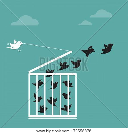 Vector image of a bird in the cage and outside the cage.