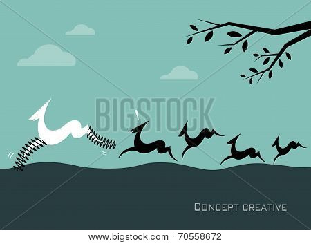 Silhouette of a herd of deer on blue background