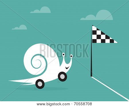 Snail on wheels like a car