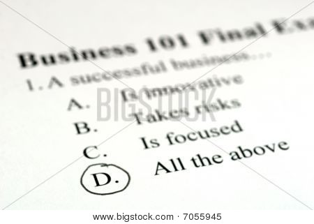 Business Multiple Choice Test
