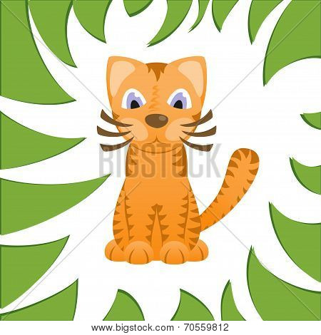 Cartoon cat looks like tiger in frame of jungle grass