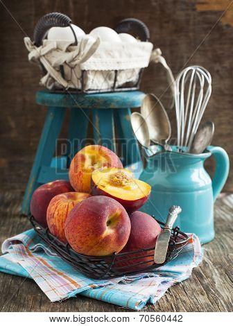 Peaches And Eggs. Preparing For Baking A Peaches Pie.