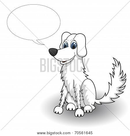 Sketchy cartoon dog with speaking bubble