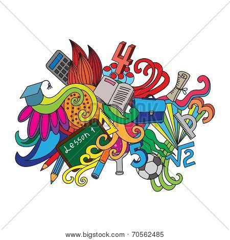 Vector decorative doodles design card Back to school