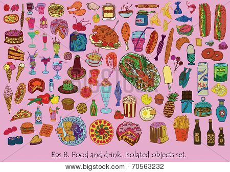 Food and drink set. Hand drawn vector. Isolated objecs.