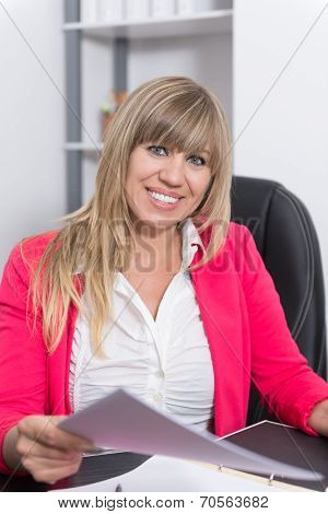 Woman Is Holding A Document