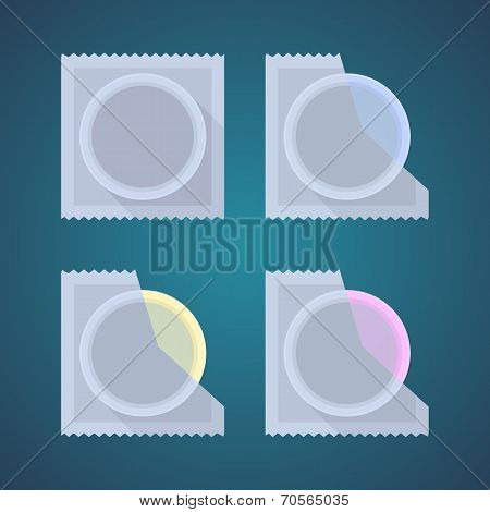 Flat icons of colored condom