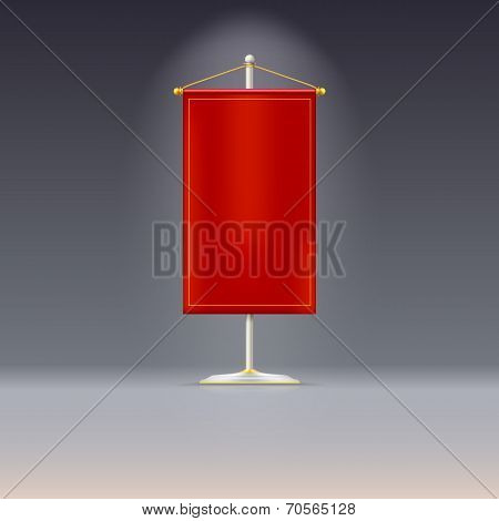 Red pennant or flag on chrome base with