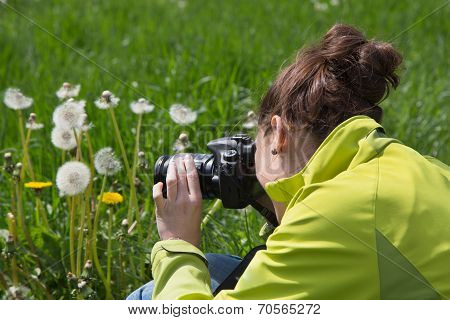Young Woman In Leisure Time Making Nature Photos In The Grass.