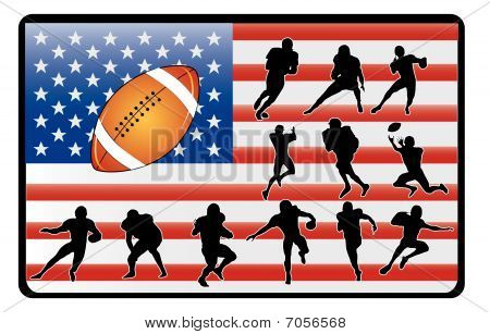 football players over the american flag vector