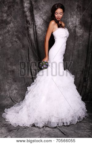 Beautiful Young Bride In Luxurious Dress
