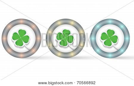Set Of Three Icons With Cloverleaf