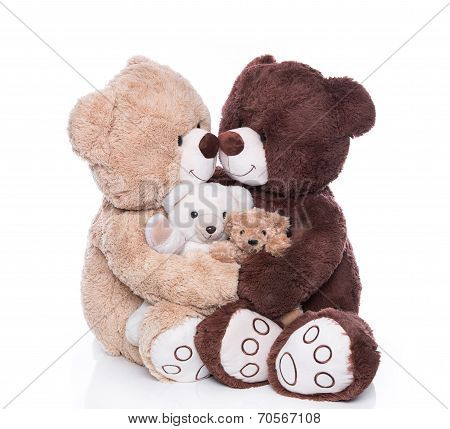 Happy Teddy Bear Family With Two Children Isolated Over White.