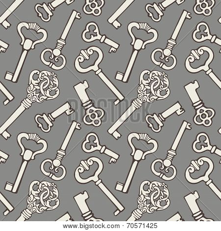Seamless pattern with outline vintage keys