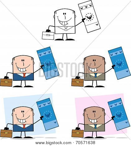 Businessman Dude Cartoon Character 7  Collection Set
