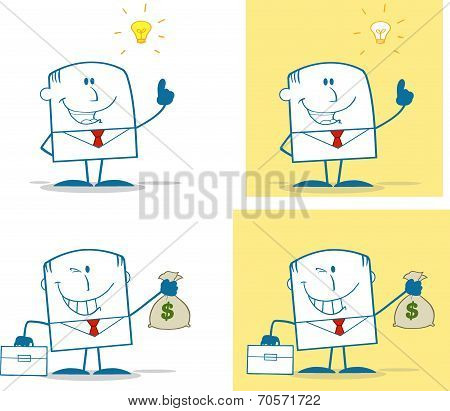 Businessman Dude Monochrome Cartoon Character 6. Collection Set