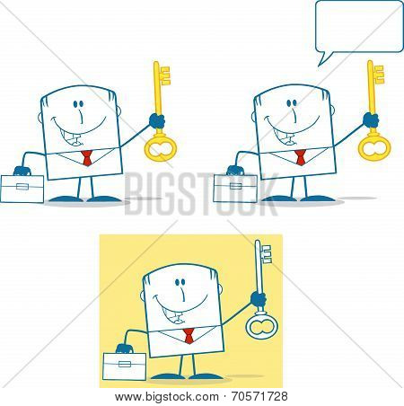 Businessman Dude Monochrome Cartoon Character 5. Collection Set