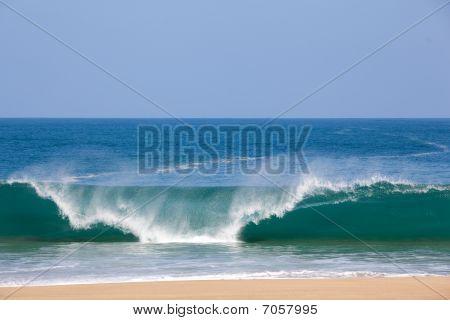 Waves Over Beach On Lumahai