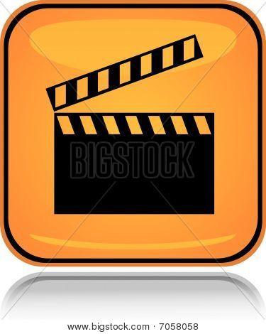 Yellow square icon movie board with reflection