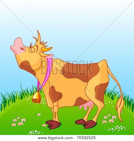 Illustration of cute cow moos on a sunny meadow.