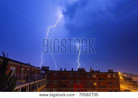 Summer thunderstorm at night, Poland