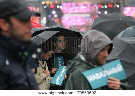 Stickers opposition leader Navalny on unknown parties campaign rally
