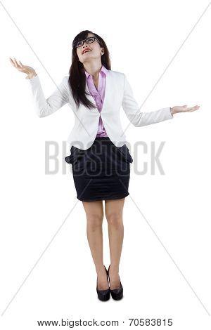 Businesswoman Juggling Gesture