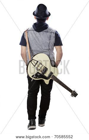 Male Guitarist With Guitar Rear View