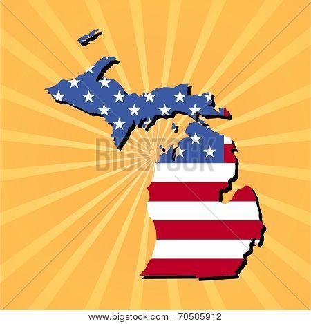 Michigan map flag on yellow sunburst illustration