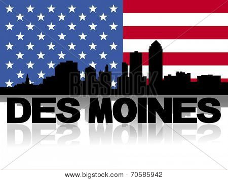 Des Moines skyline and text reflected with American flag vector illustration