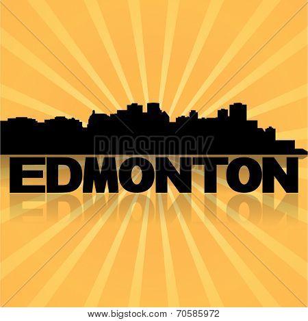 Edmonton skyline reflected with sunburst vector illustration