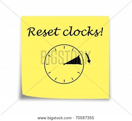 Sticky Note Reminder To Set Clocks Forward